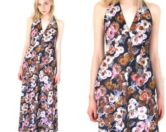 1970s floral maxi dress 70s retro boho halter dress small