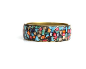 vintage mosaic brass enamel bangle bracelet | brass bangle | multicolored enamel bracelet