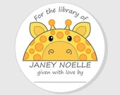 Giraffe Bookplate Baby Shower Stickers - Personalized For The Library of Stickers - Boy - Girl - Gender Neutral - 2.5 inch - 3 inch