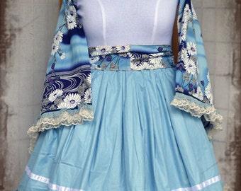 Lolita babydoll light blue floral kimono cosplay dress