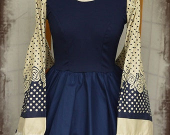 Lolita babydoll navy blue rose kimono cosplay dress