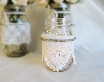 Wedding Centerpiece Mason Candle Jar and Vintage lace, buttons, rhinestones