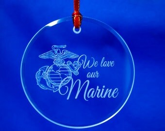 Personalized US Marine Corps Eagle Globe and Anchor Glass Ornament, Suncatcher, USMC Emblem