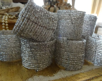 Vintage Shabby Cottage Chic Set 16 Silver Bead Napkin Rings
