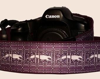 Purple Running Greyhound Camera Strap-