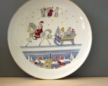 H&Co Heinrich Bavaria Germany Collector Christmas plate by Else Pfefferl. Mid century modern collectible.