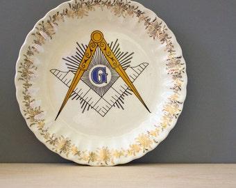 Freemasons.  Vintage mid century wall plate.
