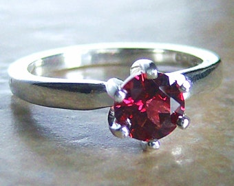 Genuine Rose Rhodolite Garnet Sterling Silver Ring, Cavalier Creations