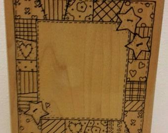 Patchwork Quilt Frame #T444 Wood Mounted Rubber Stamp by JRL Design Co (B1EE)