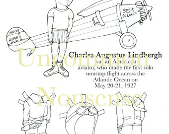 Charles Lindbergh Paper Doll to color and cut!