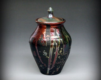 Raku Urn, Raku Pottery, Raku Lidded Vase, Metallic and Iridescent, Copper, Emerald