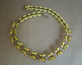 Yellow Vintage Butterfly Choker Necklace