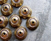 Bead Cap, Gold Bead Cap, Lucite Bead, Ornate, Boho Bead, Distressed, Imperfects, As Is, Tribal Bead, Vintage Beads, 11 x 6, 30 Beads