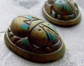 Scarab Cabochon-Vintage Glass-Carved Glass-Hieroglyphic-Egyptian Scarab-Boho Chic-Tribal Jewelry-30 x 22-2 Cab
