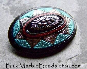 Vintage Button-Hand Painted Button-Boho Button-Bohemian Button-Oval Button-Turquoise Button-Black Button-Metal Shank-Czech Glass Button-1