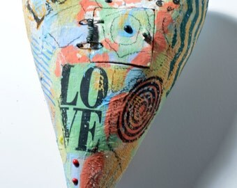 Ceramic Heart Sculpture Wall Hanging Colorful Abstract painted design LOVE
