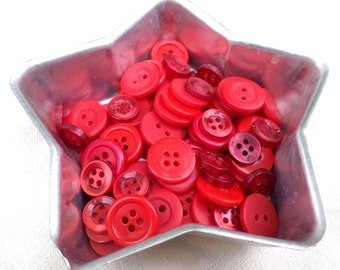 100 Shades of RED Vintage Buttons