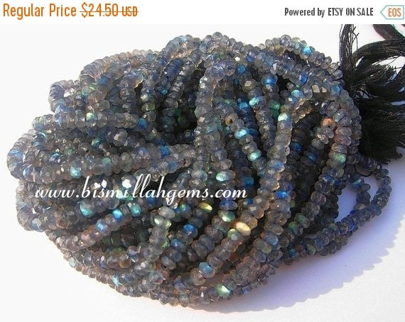 55% OFF SALE Blue flashy Labradorite micro faceted rondelles 3.5mm full 14 inch strand