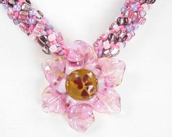 Handmade Beaded Kumihimo Flower Pendant Necklace   Pink