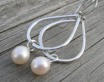 Sterling Teardrop Pearl Earrings