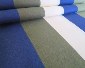 Vintage Mod Big Stripe Cotton Fabric - Blue, Green, Tan, White - 1 Yard
