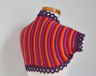 Crochet shrug, Purple, orange, red, P463