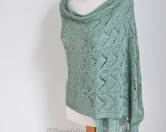 Lace knitted shawl, mint green,  N402