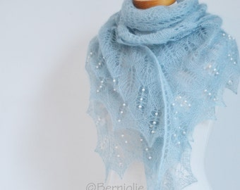Lace knitted shawl with fresh water pearls, N410