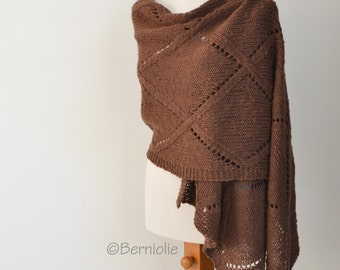 Lace knitted shawl, Brown, P422