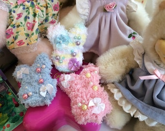 Fuzzy Bunnies Fairy Kei Lolita 2-Way Clip Brooch Pin