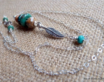 Ayita - Natural Turquoise Stone & Sterling Feather Necklace Beautiful Blue Green Turquoise Gemstone Pendant on Fine Silver Chain Jewelry
