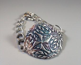 High Texture Fine Silver Cuff Bracelet