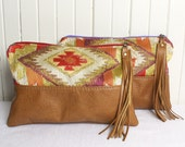 Southwest Print Zippered Clutch Bag with Saddle Tan Genuine Leather and Handcut Tassel