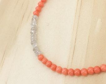Pale coral & zircon bracelet