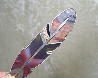 REVERSIBLE Stone Inlay Feather Centerpiece - Blood Zebra, Serape Jasper, Petrified Palmwood, and Sterling Silver