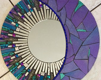 "16"" Blue and Purple Round Glitter Glass Mosaic Mirror -Celestial"