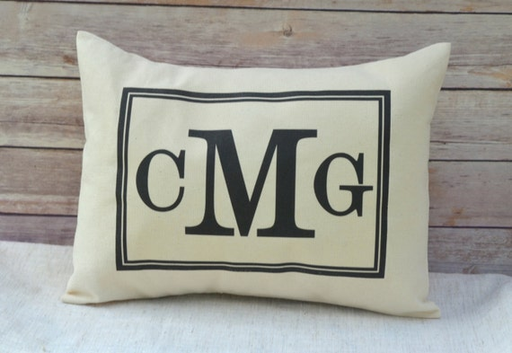 Personalized gift, Black Monogram pillow, second marriage, newly engaged gift, newlywed gift, cotton anniversary, 2nd anniversary, trending