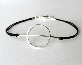 Geometric bracelet, Circle Moon bracelet, sterling and linen, Theta bracelet, ready to ship, Christmas gift, gift for woman, gift for her