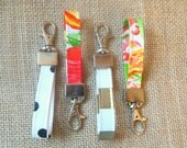 oilcloth key fob // key chain with strap and hook closure