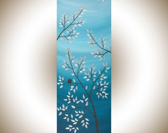 """Blue silver  love Birds Acrylic painting wall art wall decor Wall Hangings blue silver """"Serenity"""" by qiqigallery"""
