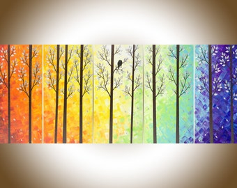"Extra large wall art 60""Contemporary Landscape rainbow Color original canvas art Palette knife Impasto Tree LoveBirds Painting ""Twilight II"""