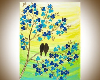 """Colorful love birds art yellow blue green wall art wall decor canvas art gift for her gift for couple """"Fulfilment"""" by qiqigallery"""