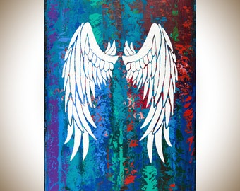 "Angel's wing Abstract art original artwork wall art wall decor wall hanging white red green blue purple ""Angel's Wings"" by qiqigallery"