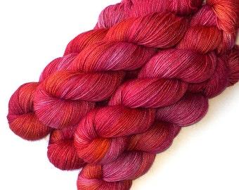 Alpaca Silk Cashmere Yarn Handdyed Sock Fingering, 435 yards - Brilliant Rose Hip