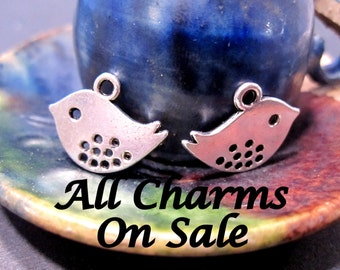 On Sale 12 Bird Charms in Antique Silver 12x11mm with top loop and hanging holes C1014 A16