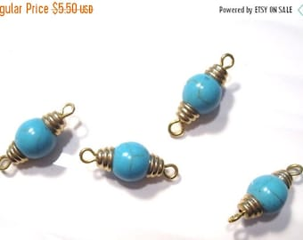 50% Off 5 Gold and Turquoise Connectors, Hand Crafted, Charm, Pendant drops, Earring drops, dangles, Necklace Pendant 20x8mm C1084