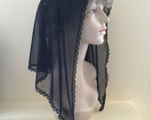 Black Sparkly Stretch Lace Headcovering