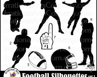 Football Silhouettes set 1 - with 8 digital graphics png format quarterback foam finger football helmet receiver {Instant Download}