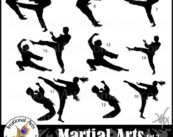 Martial Arts Silhouettes set 2 - 9 png digital clipart files {Instant Download}