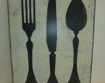 KNIFE FORK & SPOON / kitchen plaque / silverware graphic / hand painted sign / big silverware sign / giant fork  spoon / kitchen wall decor